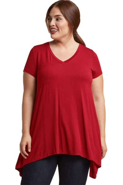 Wine Casual Long Flowy Plus Size Tunic