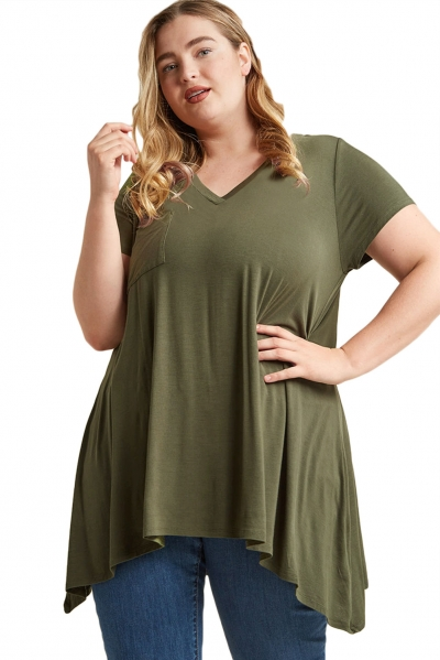 Army Green Casual Long Flowy Plus Size Tunic