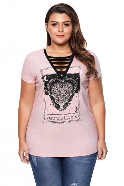 Strappy V-Neck Graphic Print Peachy Plus Size T-shirt