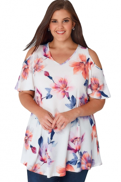 White Multi Floral Print Slinky Cold Shoulder Plus Top