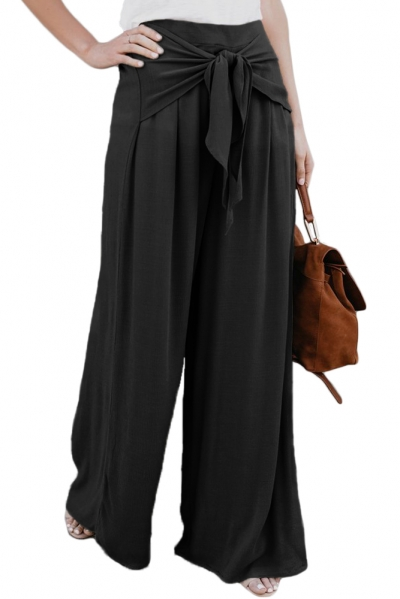 Walk The Walk Tie Palazzo Pants in Black