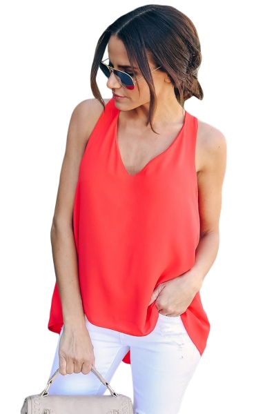 Red Sexy Summer Essential Tank Top