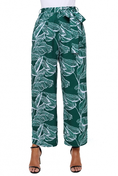 White Leaf Vein Print Green Wide Leg Pants