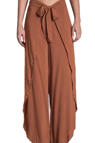 Orange Tie Front Tulip Slit Palazzo Pants