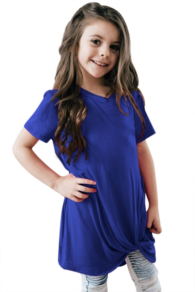 Royal Blue Twist Drape Short Sleeve Tee for Girls