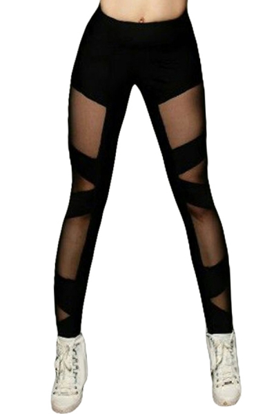 Black Sexy Cross Mesh Sports Leggings