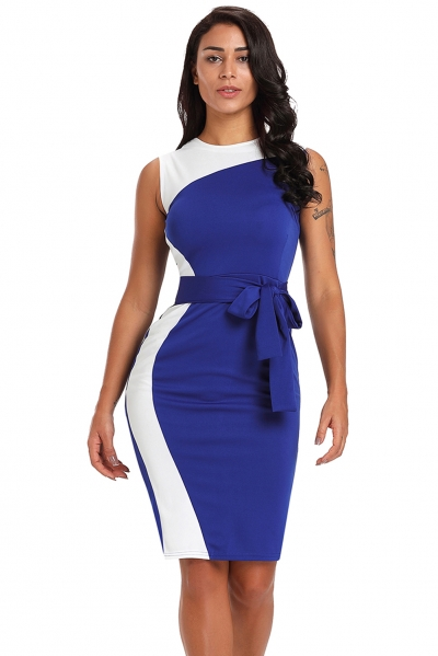 Asymmetric Blue White Patchwork Belted Sheath Dress