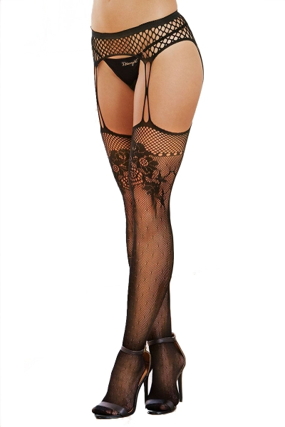 Black Floral Mesh and Fishnet Suspender Pantyhose