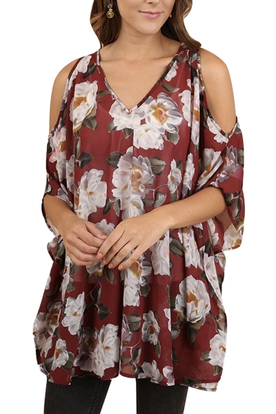 Burgundy Floral V-Neck Tunic