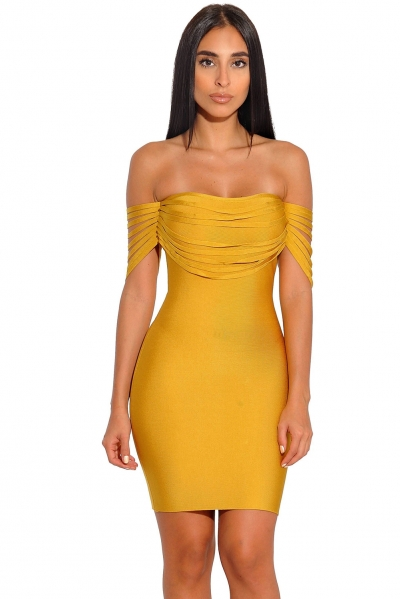 Mustard Strappy Detail Off Shoulder Bandage Dress