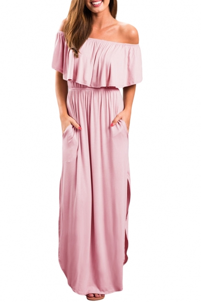 Pink Flounce Off Shoulder Maxi Jersey Dress