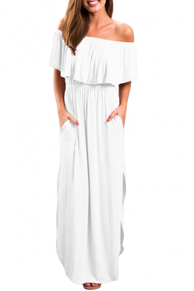 White Flounce Off Shoulder Maxi Jersey Dress
