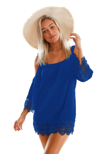 Blue Lacy Crochet Trim Crinkle Cold Shoulder Beachwear