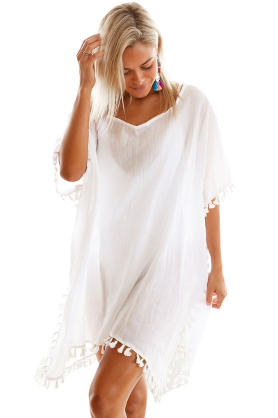 White Pom Pom Tassel Hem Gauze Cover up