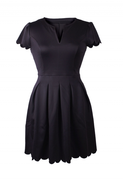 Black Sweet Scallop Pleated Skater Dress zekela.com