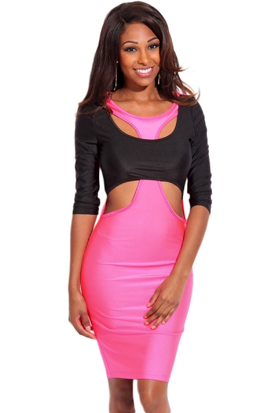 Rosy Black Two Tone Cut out 3/4 Sleeves Bodycon Dress