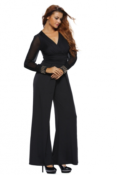 Black Embellished Cuffs Long Mesh Sleeves Jumpsuit zekela.com