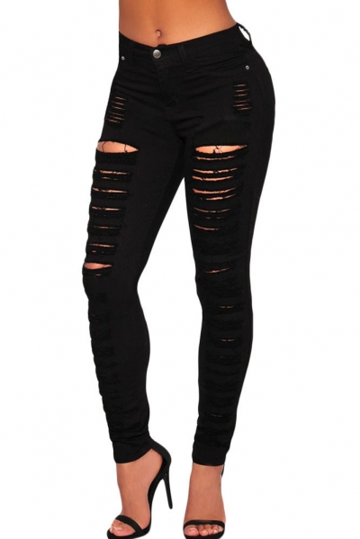 Black Denim Destroyed High-waist Skinny Jeans