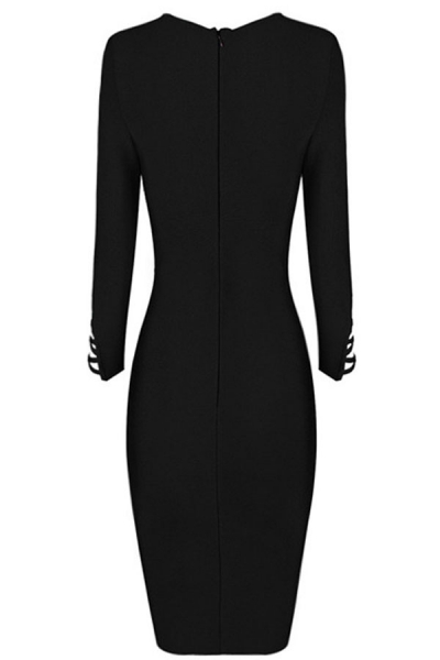 Black Asymmetric Cut out Lace up Long Sleeve Bandage Dress - ZEKELA.com bfa1be387