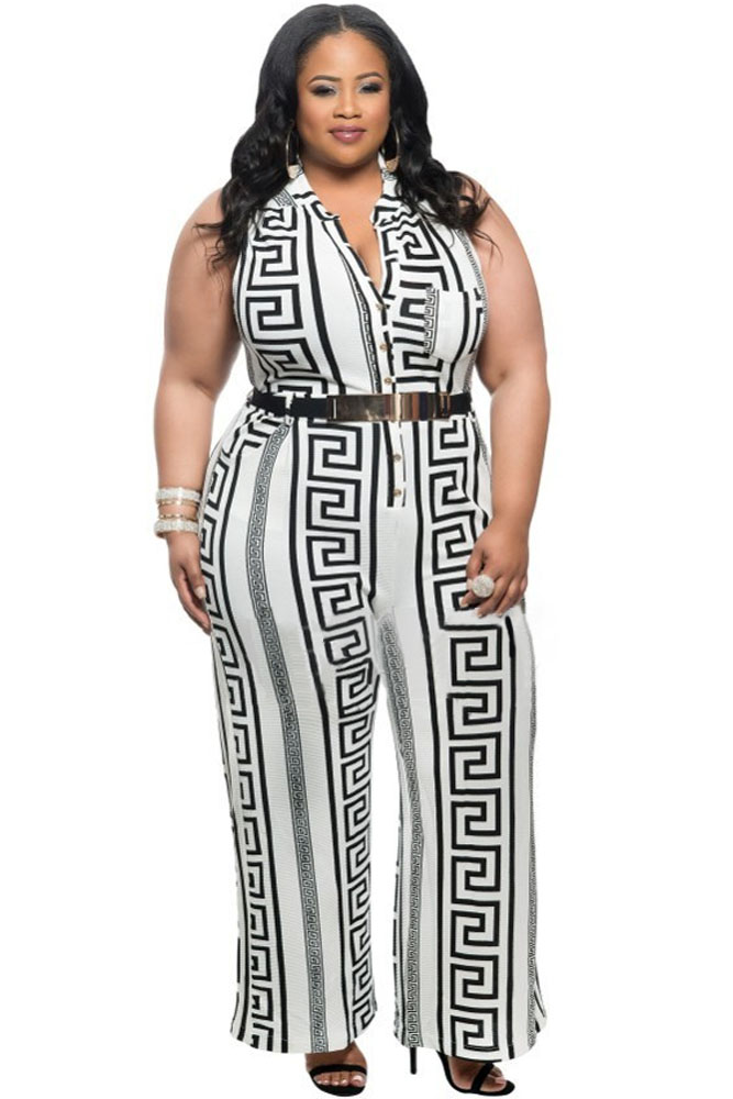 9cd53ac3187 Plus Size White Print Gold Belted Jumpsuit ZEKELA.com. Loading zoom