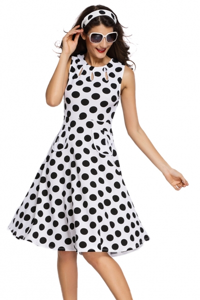 White Polka Dot Bohemain Print Dress with Keyholes