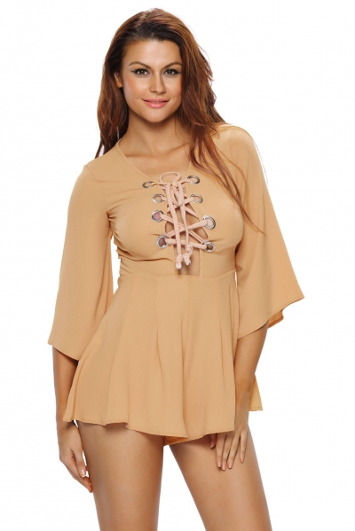 Brown Rope Bell Sleeve Romper