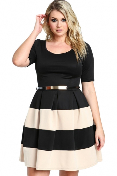 Apricot Stripes Detail Belted Plus Size Skater Dress Zekela