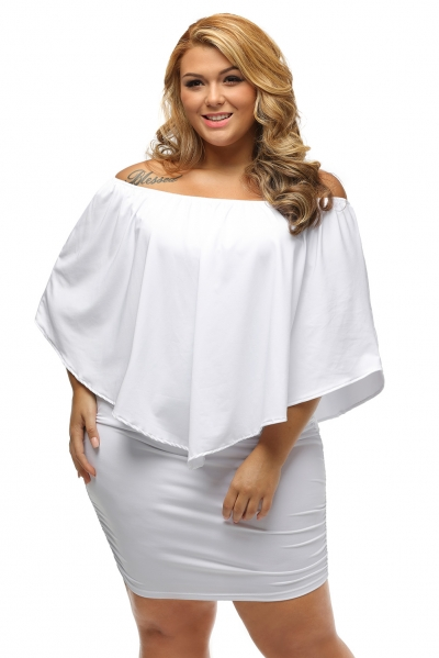 Plus Size Multiple Dressing Layered White Mini Dress