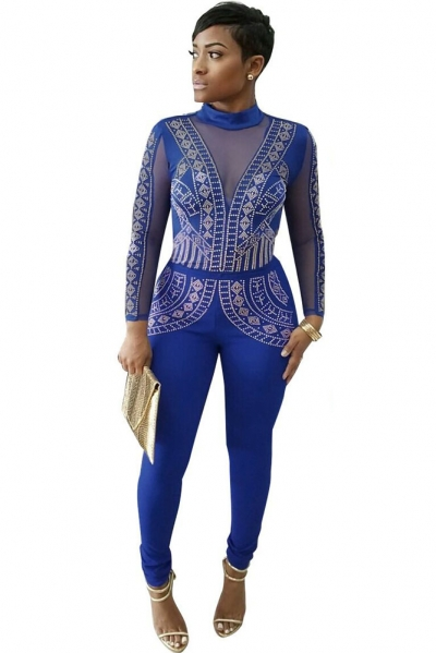 Blue Steampunk Studded Pattern Mesh Insert Jumpsuit