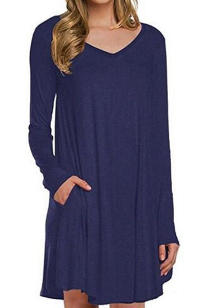 Blue Long Sleeve Pocket Casual Loose T-shirt Dress