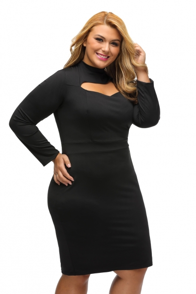 Black Long Sleeve Keyhole Bodycon Plus Size Dress Zekela