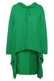 Green Plain Drawstring Irregular Oversize Hoodie