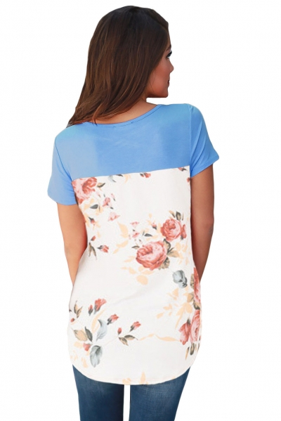 Blue Floral Print Lower Back T-shirt