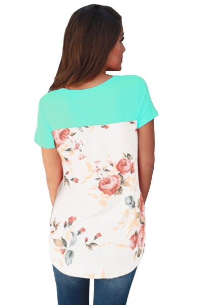 Mint Floral Print Lower Back T-shirt
