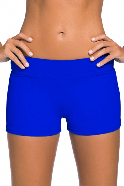 Royal Blue Wide Waistband Swimsuit Bottom Shorts zekela.com