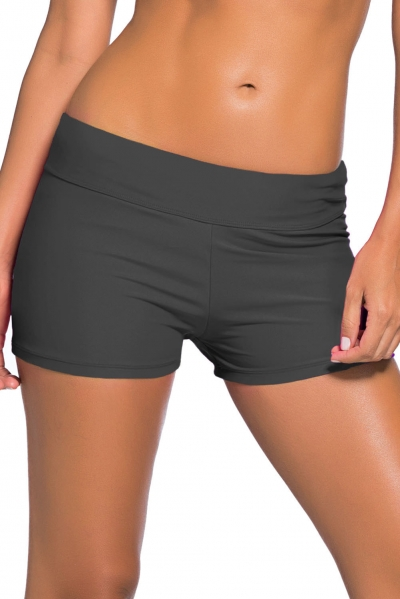 Dark Grey Wide Waistband Swimsuit Bottom Shorts