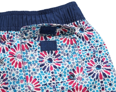 Floral Patch Pocket Navy Board Shorts zekela.com