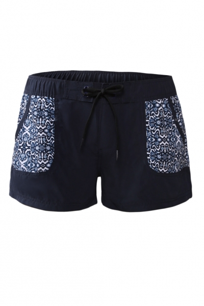 Stylish Patch Pocket Black Board Shorts