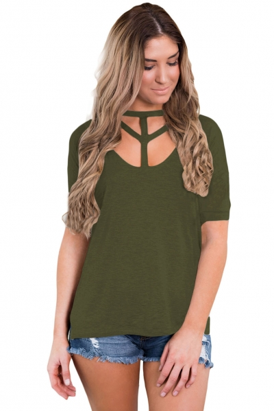 Army Green Cutout Choker Detail Short Sleeve T-shirts