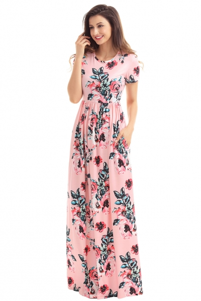 Pocket Design Short Sleeve Pink Floral Maxi Dress
