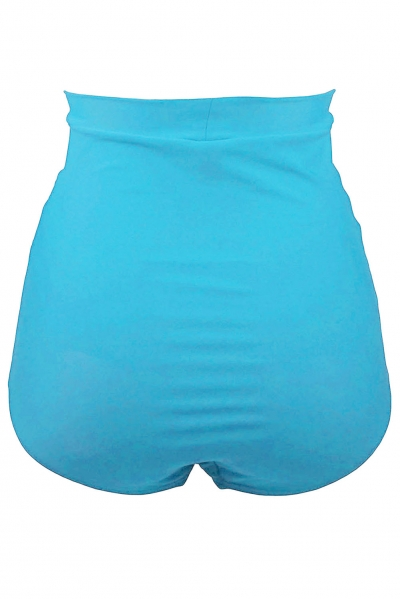 Sky Blue Retro High Waisted Swim Short zekela.com