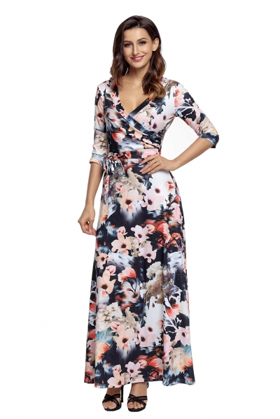 Dark Floral Print Wrapped Long Boho Dress