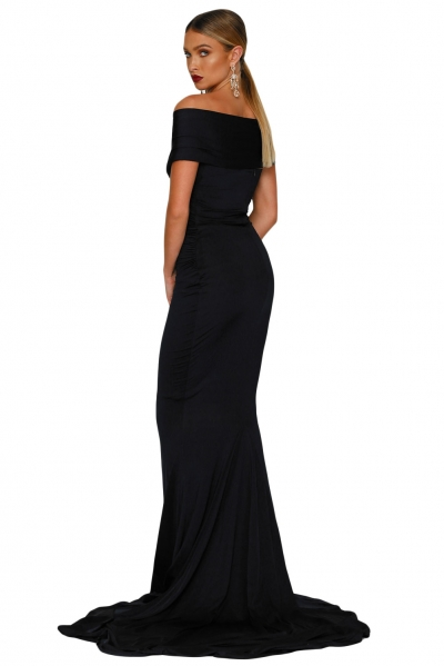 Black Off-shoulder Mermaid Wedding Party Gown zekela.com
