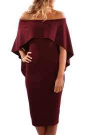 Wine Luxurious Off Shoulder Batwing Cape Midi Dress