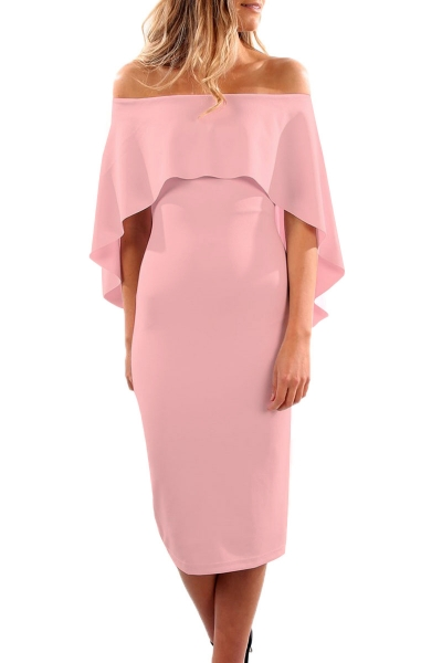 Pink Luxurious Off Shoulder Batwing Cape Midi Dress