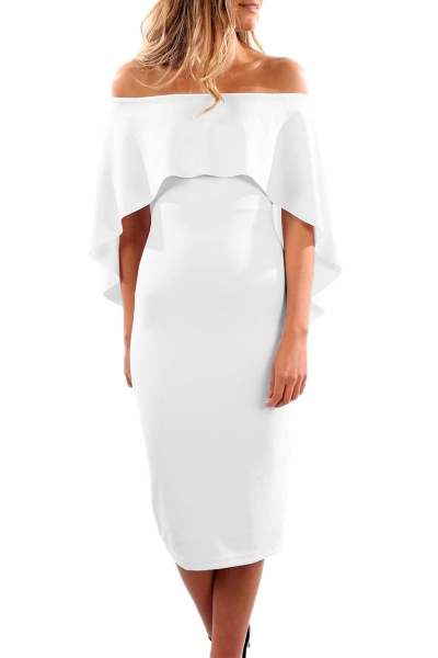 White Luxurious Off Shoulder Batwing Cape Midi Dress ZEKELA.com