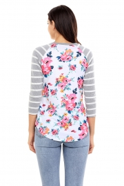 Grey Striped Sleeves White Floral Top