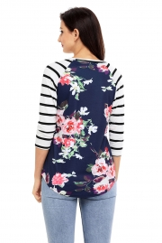 White Striped Sleeves Navy Floral Top