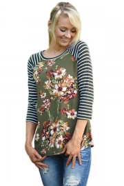 Olive Striped Sleeves Floral Top