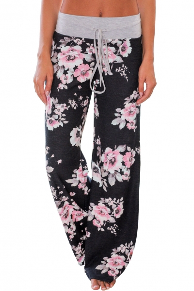 Black Floral Terry Wide Leg Pants